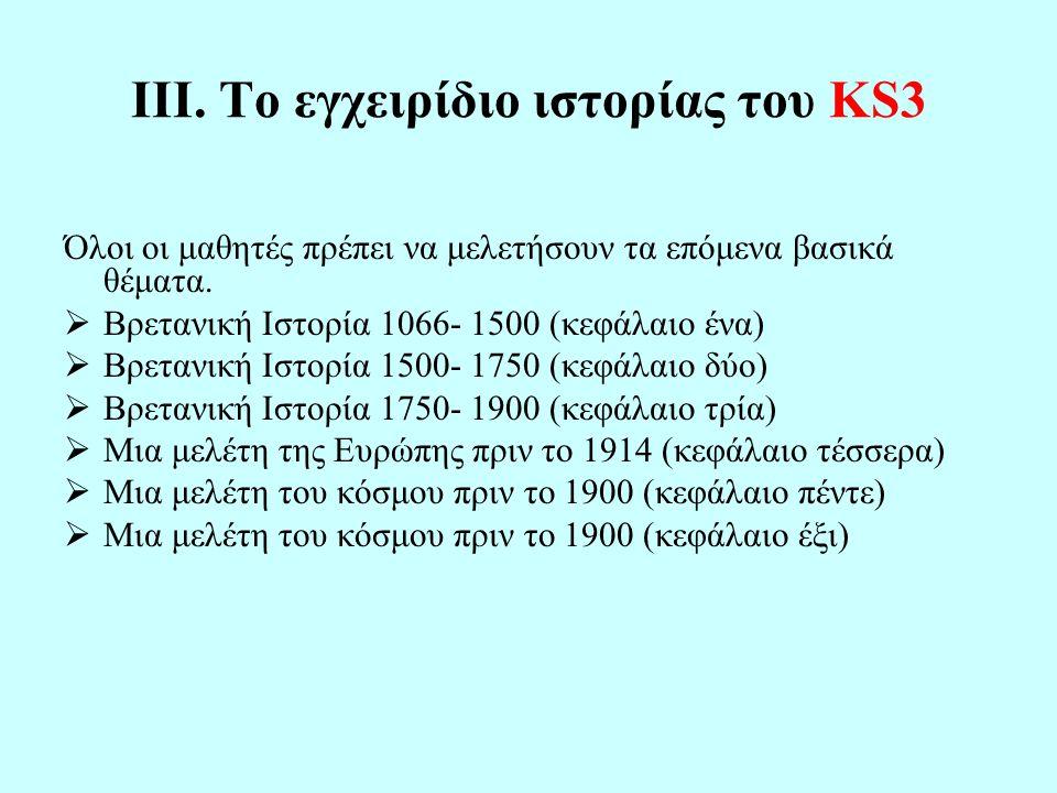ΙΙΙ. Το εγχειρίδιο ιστορίας του KS3 Όλοι οι μαθητές πρέπει να μελετήσουν τα επόμενα βασικά θέματα.