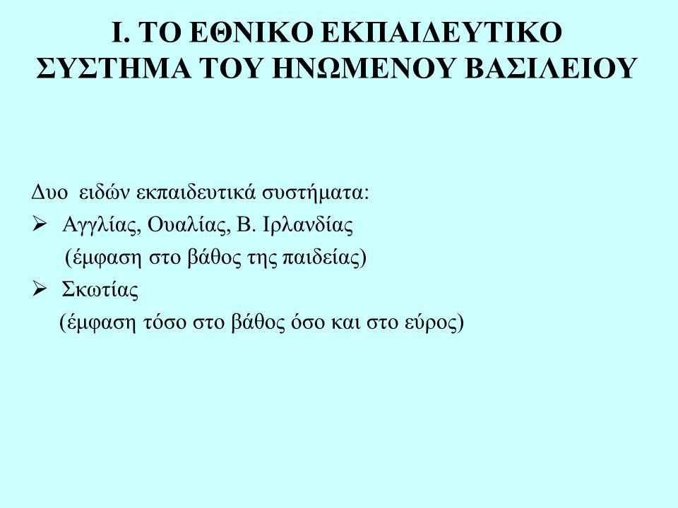 Αγγλία- Ουαλία  υποχρεωτική φοίτηση: 5-16 ετών  τέσσερα βασικά στάδια: βασικό στάδιο 1 (5-7 ετών) βασικό στάδιο 2 (7-11 ετών) βασικό στάδιο 3 (11-14ετών) βασικό στάδιο 4 (14-16 ετών) Πρωτοβάθμια εκπαίδευση Δευτεροβάθμια εκπαίδευση