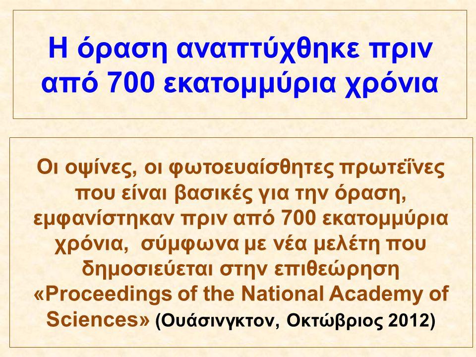 Οι οψίνες, οι φωτοευαίσθητες πρωτεΐνες που είναι βασικές για την όραση, εμφανίστηκαν πριν από 700 εκατομμύρια χρόνια, σύμφωνα με νέα μελέτη που δημοσι