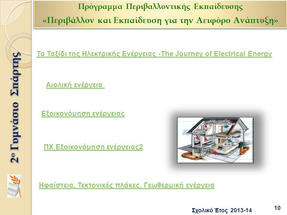 Το Ταξίδι της Ηλεκτρικής Ενέργειας -The Journey of Electrical Energy Αιολική ενέργεια Εξοικονόμηση ενέργειας ΠΧ Εξοικονόμηση ενέργειας2 10 2 ο Γυμνάσι