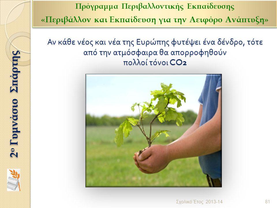 Αν κάθε νέος και νέα της Ευρώπης φυτέψει ένα δένδρο, τότε από την ατμόσφαιρα θα απορροφηθούν πολλοί τόνοι CO2 81 Σχολικό Έτος 2013-14 2 ο Γυμνάσιο Σπά