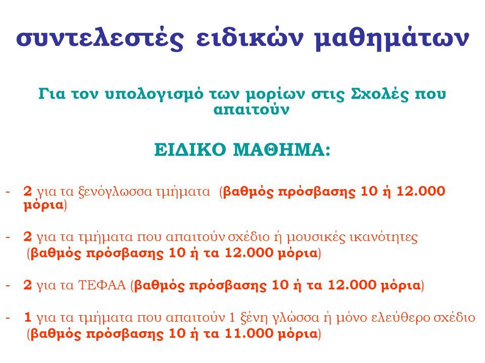 συντελεστές ειδικών μαθημάτων Για τον υπολογισμό των μορίων στις Σχολές που απαιτούν ΕΙΔΙΚΟ ΜΑΘΗΜΑ: - 2 για τα ξενόγλωσσα τμήματα ( βαθμός πρόσβασης 1