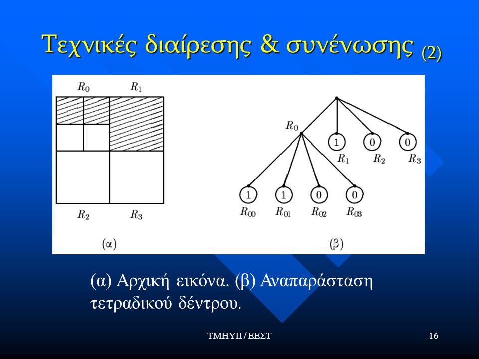 ΤΜΗΥΠ / ΕΕΣΤ16 Τεχνικές διαίρεσης & συνένωσης (2) (α) Αρχική εικόνα.