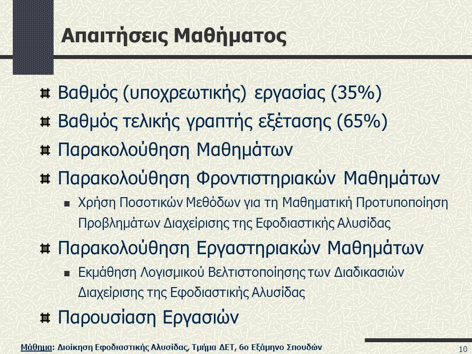 Μάθημα: Διοίκηση Εφοδιαστικής Αλυσίδας, Τμήμα ΔΕΤ, 6ο Εξάμηνο Σπουδών 10 Απαιτήσεις Μαθήματος Βαθμός (υποχρεωτικής) εργασίας (35%) Βαθμός τελικής γραπτής εξέτασης (65%) Παρακολούθηση Μαθημάτων Παρακολούθηση Φροντιστηριακών Μαθημάτων  Χρήση Ποσοτικών Μεθόδων για τη Μαθηματική Προτυποποίηση Προβλημάτων Διαχείρισης της Εφοδιαστικής Αλυσίδας Παρακολούθηση Εργαστηριακών Μαθημάτων  Εκμάθηση Λογισμικού Βελτιστοποίησης των Διαδικασιών Διαχείρισης της Εφοδιαστικής Αλυσίδας Παρουσίαση Εργασιών