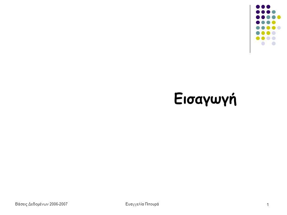 Βάσεις Δεδομένων 2006-2007Ευαγγελία Πιτουρά 22 Η Αρχιτεκτονική Τριών Επιπέδων Εσωτερικό Σχήμα Εννοιολογικό Σχήμα Εξωτερική Όψη 1Εξωτερική Όψη n Απεικόνιση (το μάθημα σε λιγότερο από 30') Περιγράφει λεπτομέρειες σχετικά με την αποθήκευση και τους δρόμους προσπέλασης Πως οι σχέσεις αποθηκεύονται στο δίσκο, ευρετήρια, κλπ Περιγράφει τα αποθηκευμένα δεδομένα με βάση το μοντέλο δεδομένων