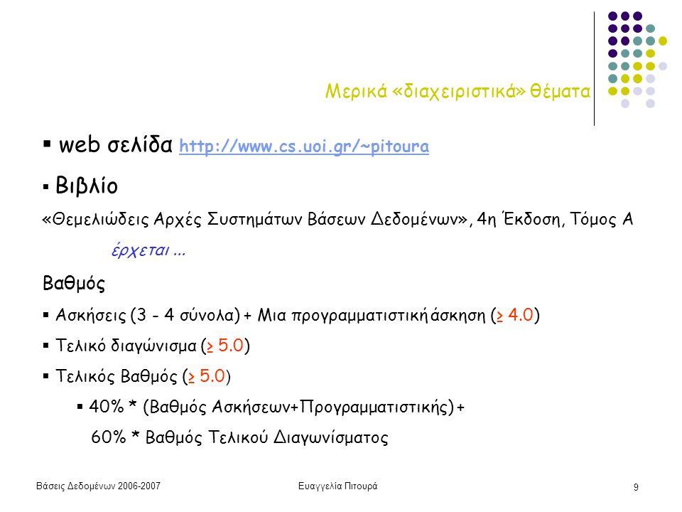 Βάσεις Δεδομένων 2006-2007Ευαγγελία Πιτουρά 20 Γενική Εικόνα του Μαθήματος ΜΕΡΟΣ 1 Μοντελοποίηση - Ορισμός Προγραμματισμός Δημιουργία/Κατασκευή Εισαγωγή Δεδομένων Επεξεργασία Δεδομένων ΜΕΡΟΣ 2 Υλοποίηση ΣΔΒΔ Με χρήση ΣΔΒΔ Το εσωτερικό ενός ΣΔΒΔ (το μάθημα σε λιγότερο από 30')
