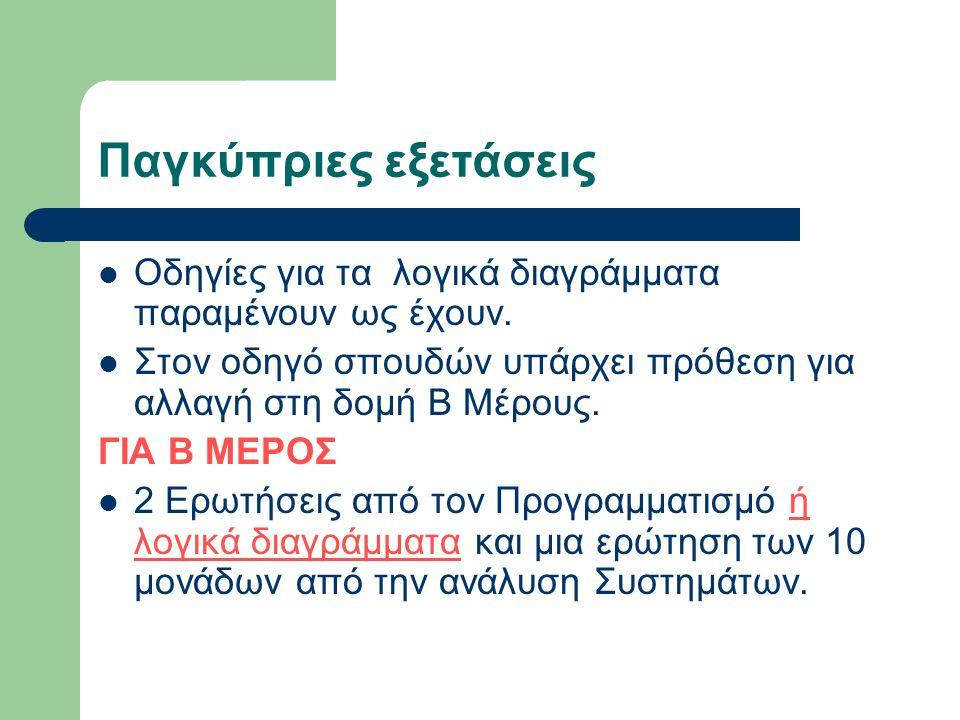 Παγκύπριες εξετάσεις  Οδηγίες για τα λογικά διαγράμματα παραμένουν ως έχουν.