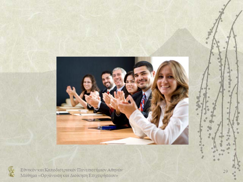 Εθνικόν και Καποδιστριακόν Πανεπιστήμιον Αθηνών Μάθημα «Οργάνωση και Διοίκηση Επιχειρήσεων» 29