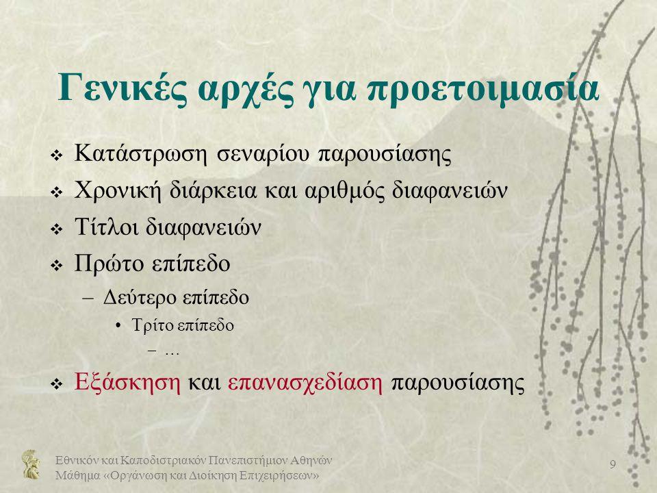 Εθνικόν και Καποδιστριακόν Πανεπιστήμιον Αθηνών Μάθημα «Οργάνωση και Διοίκηση Επιχειρήσεων» 20 Απλότητα (1/2)