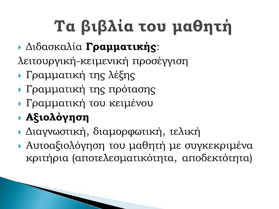  Διδασκαλία Γραμματικής : λειτουργική-κειμενική προσέγγιση  Γραμματική της λέξης  Γραμματική της πρότασης  Γραμματική του κειμένου  Αξιολόγηση  Διαγνωστική, διαμορφωτική, τελική  Αυτοαξιολόγηση του μαθητή με συγκεκριμένα κριτήρια (αποτελεσματικότητα, αποδεκτότητα)
