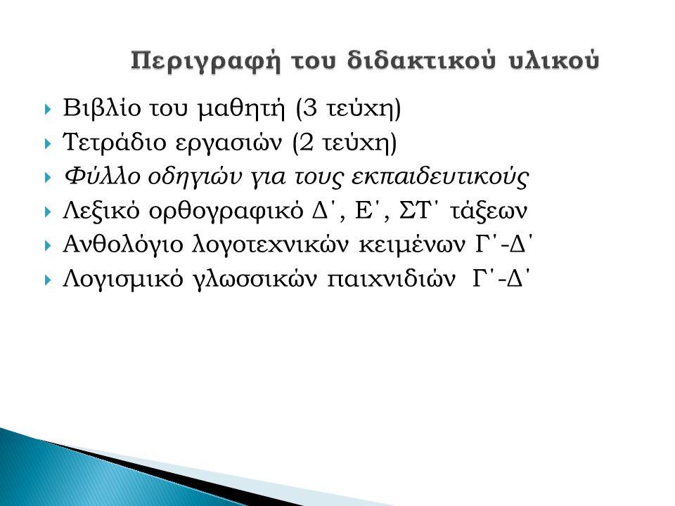  Βιβλίο του μαθητή (3 τεύχη)  Τετράδιο εργασιών (2 τεύχη)  Φύλλο οδηγιών για τους εκπαιδευτικούς  Λεξικό ορθογραφικό Δ΄, Ε΄, ΣΤ΄ τάξεων  Ανθολόγιο λογοτεχνικών κειμένων Γ΄-Δ΄  Λογισμικό γλωσσικών παιχνιδιών Γ΄-Δ΄