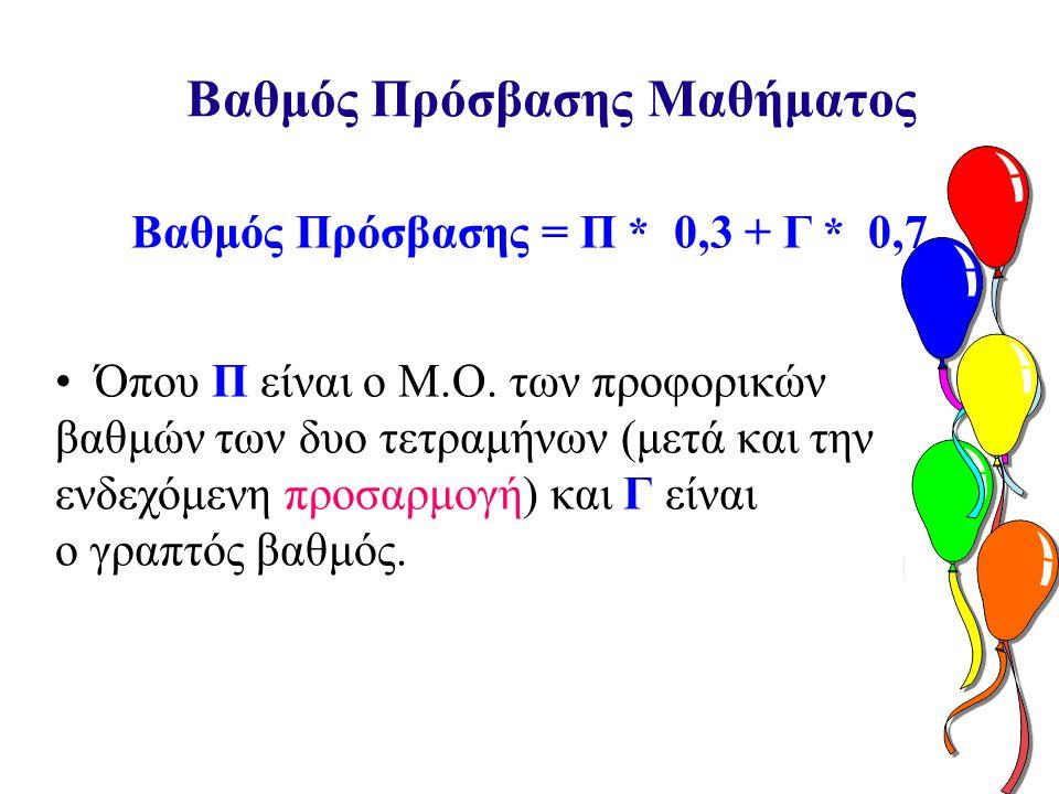 Βαθμός Πρόσβασης Μαθήματος Βαθμός Πρόσβασης = Π * 0,3 + Γ * 0,7 • Όπου Π είναι ο Μ.Ο.