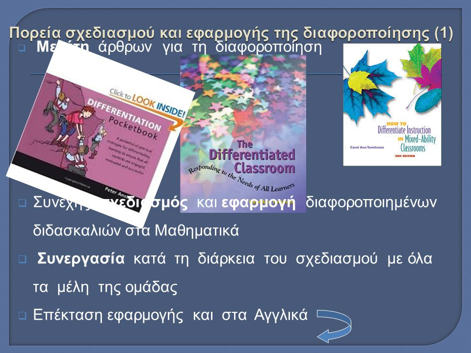  Μελέτη άρθρων για τη διαφοροποίηση  Συνεχής σχεδιασμός και εφαρμογή διαφοροποιημένων διδασκαλιών στα Μαθηματικά  Συνεργασία κατά τη διάρκεια του σχεδιασμού με όλα τα μέλη της ομάδας  Επέκταση εφαρμογής και στα Αγγλικά