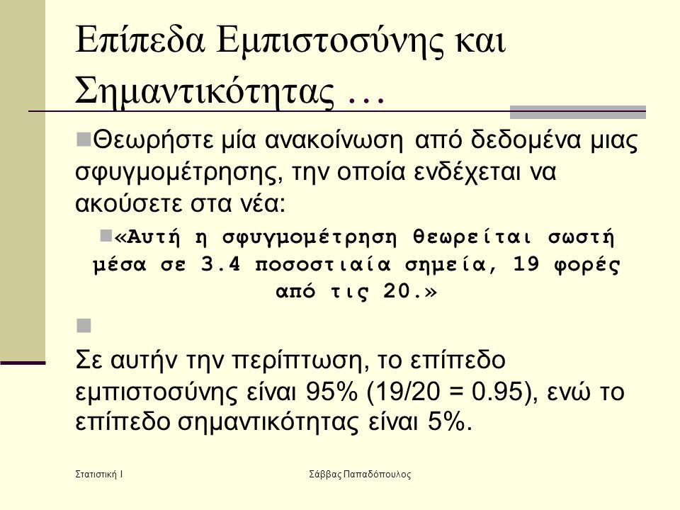 Στατιστική Ι Σάββας Παπαδόπουλος Επίπεδα Εμπιστοσύνης και Σημαντικότητας …  Θεωρήστε μία ανακοίνωση από δεδομένα μιας σφυγμομέτρησης, την οποία ενδέχ