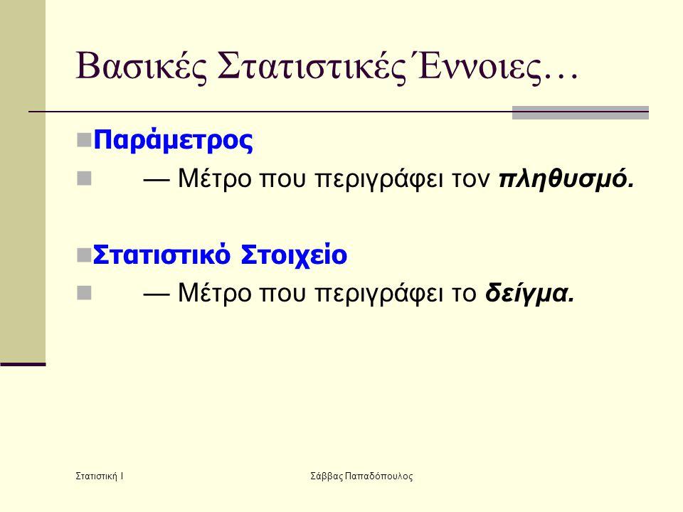 Στατιστική Ι Σάββας Παπαδόπουλος Βασικές Στατιστικές Έννοιες…  Παράμετρος  — Μέτρο που περιγράφει τον πληθυσμό.  Στατιστικό Στοιχείο  — Μέτρο που