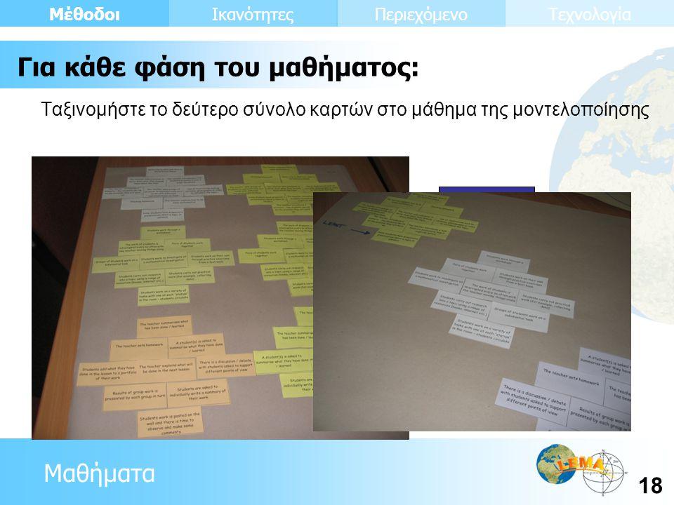Μαθήματα Μέθοδοι 18 ΙκανότητεςΠεριεχόμενοΤεχνολογία Ταξινομήστε το δεύτερο σύνολο καρτών στο μάθημα της μοντελοποίησης Μπορεί να χρησιμοποιηθεί Δεν μπ