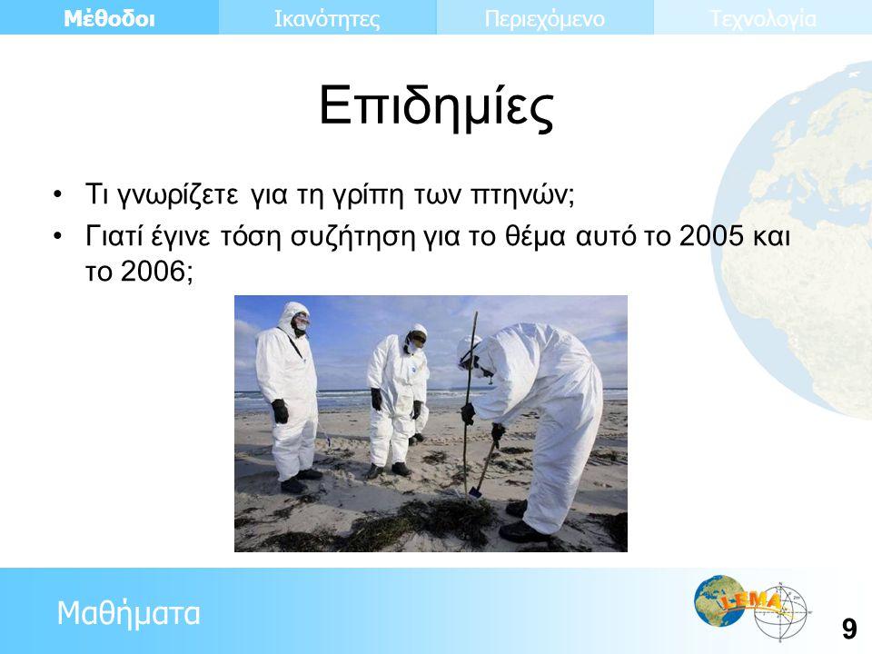 Μαθήματα Μέθοδοι 9 ΙκανότητεςΠεριεχόμενοΤεχνολογία •Τι γνωρίζετε για τη γρίπη των πτηνών; •Γιατί έγινε τόση συζήτηση για το θέμα αυτό το 2005 και το 2