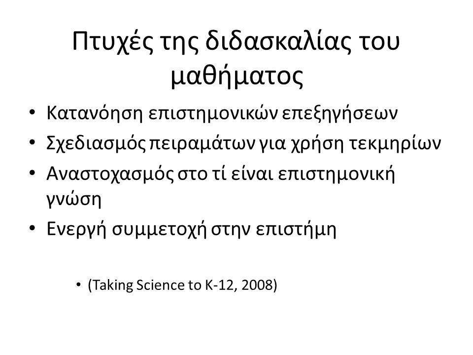 Πτυχές της διδασκαλίας του μαθήματος • Κατανόηση επιστημονικών επεξηγήσεων • Σχεδιασμός πειραμάτων για χρήση τεκμηρίων • Αναστοχασμός στο τί είναι επιστημονική γνώση • Ενεργή συμμετοχή στην επιστήμη • (Taking Science to K-12, 2008)