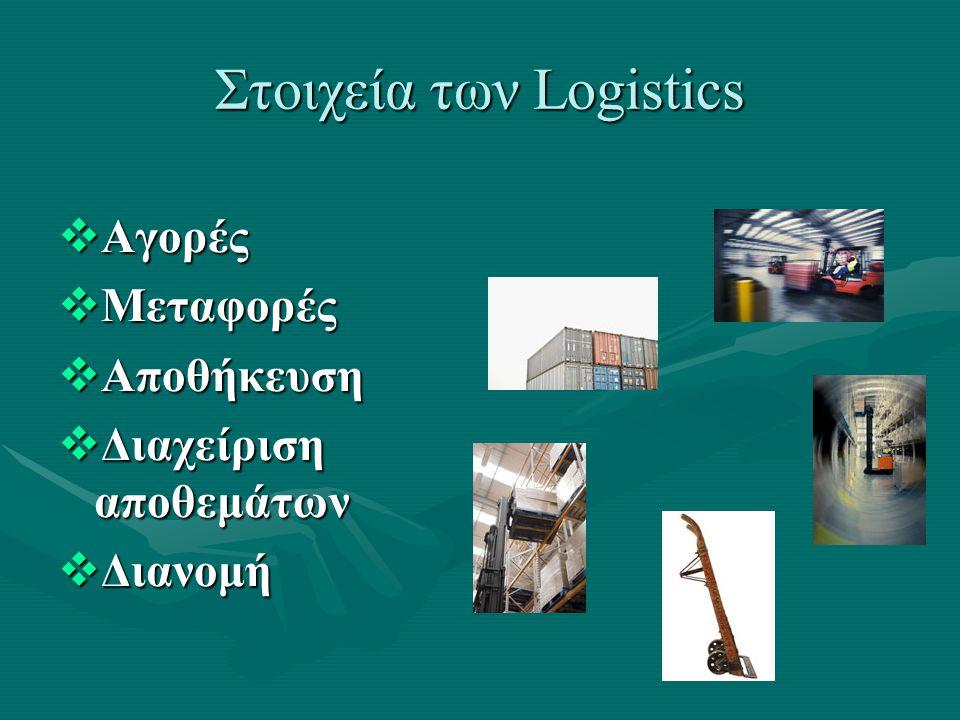 Στοιχεία των Logistics  Αγορές  Μεταφορές  Αποθήκευση  Διαχείριση αποθεμάτων  Διανομή