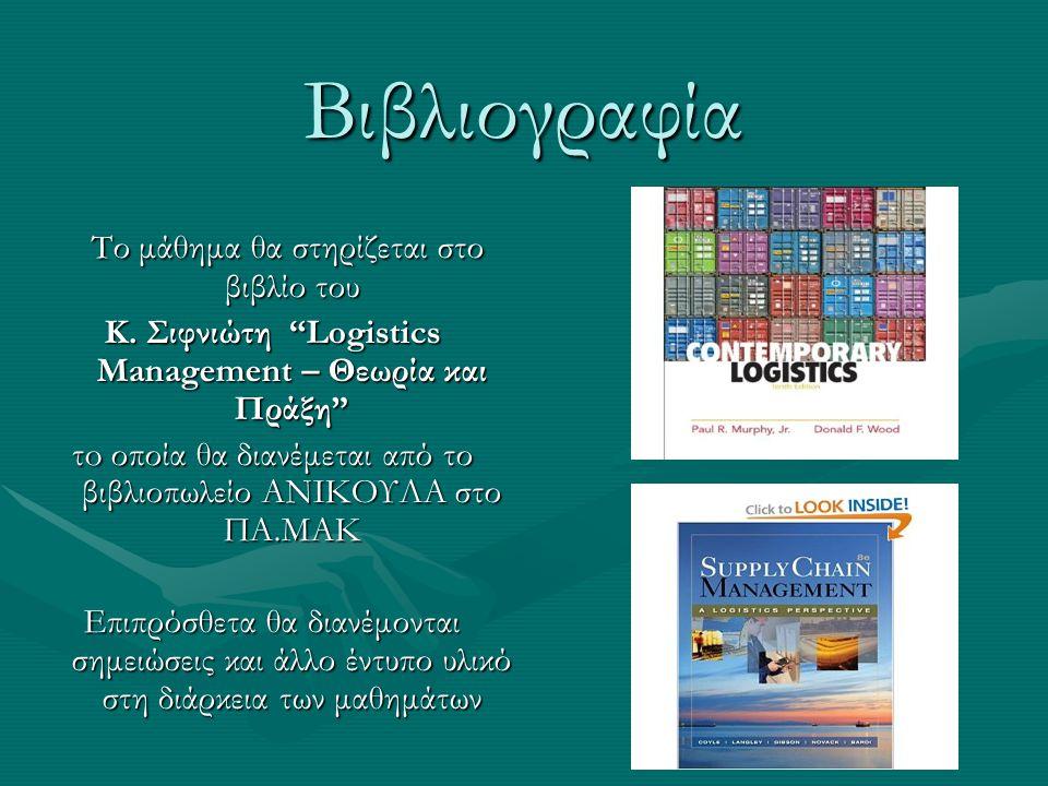 """Βιβλιογραφία Το μάθημα θα στηρίζεται στο βιβλίο του Το μάθημα θα στηρίζεται στο βιβλίο του Κ. Σιφνιώτη """"Logistics Management – Θεωρία και Πράξη"""" τo οπ"""