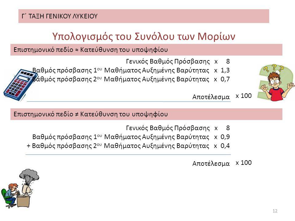 Γ΄ ΤΑΞΗ ΓΕΝΙΚΟΥ ΛΥΚΕΙΟΥ 12 Υπολογισμός του Συνόλου των Μορίων Γενικός Βαθμός Πρόσβασης x 8 Βαθμός πρόσβασης 1 ου Μαθήματος Αυξημένης Βαρύτητας x 1,3 + Βαθμός πρόσβασης 2 ου Μαθήματος Αυξημένης Βαρύτητας x 0,7 Αποτέλεσμα x 100 Επιστημονικό πεδίο ≈ Κατεύθυνση του υποψηφίου Επιστημονικό πεδίο ≠ Κατεύθυνση του υποψηφίου x 100 Γενικός Βαθμός Πρόσβασης x 8 Βαθμός πρόσβασης 1 ου Μαθήματος Αυξημένης Βαρύτητας x 0,9 + Βαθμός πρόσβασης 2 ου Μαθήματος Αυξημένης Βαρύτητας x 0,4 Αποτέλεσμα