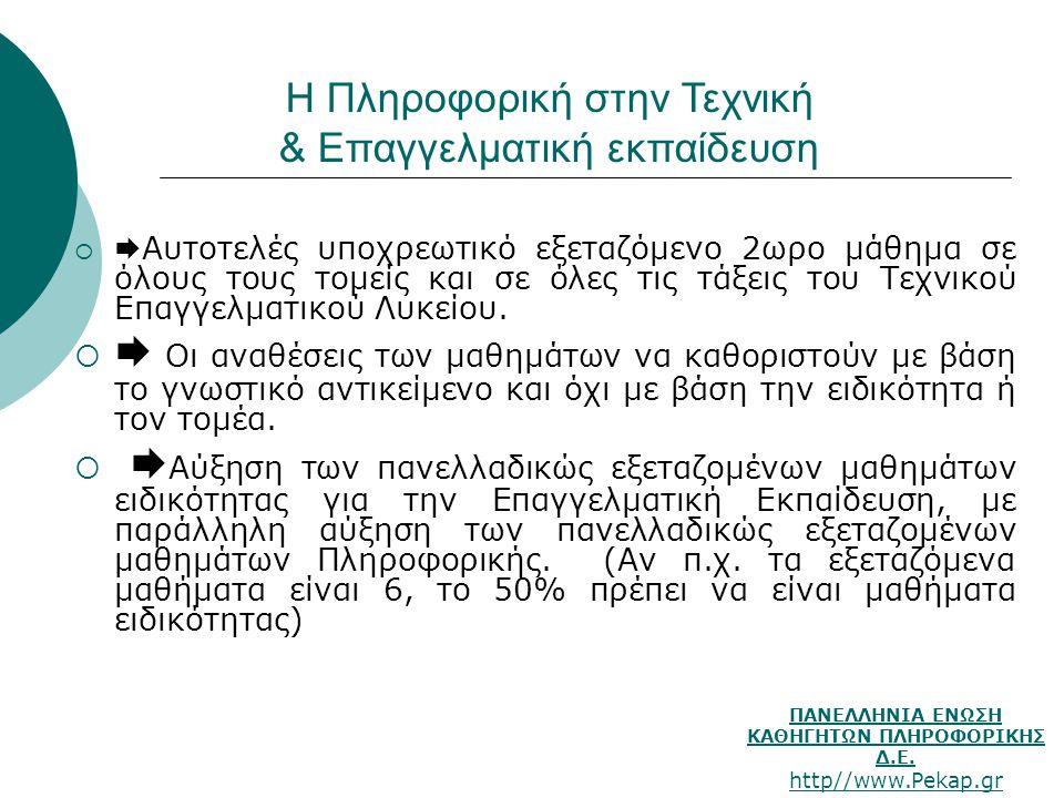 ΠΑΝΕΛΛΗΝΙΑ ΕΝΩΣΗ ΚΑΘΗΓΗΤΩΝ ΠΛΗΡΟΦΟΡΙΚΗΣ Δ.Ε. http//www.Pekap.gr Η Πληροφορική στην Τεχνική & Επαγγελματική εκπαίδευση   Αυτοτελές υποχρεωτικό εξεταζ