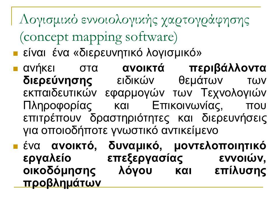 Λογισμικό εννοιολογικής χαρτογράφησης (concept mapping software)  είναι ένα «διερευνητικό λογισμικό»  ανήκει στα ανοικτά περιβάλλοντα διερεύνησης ει