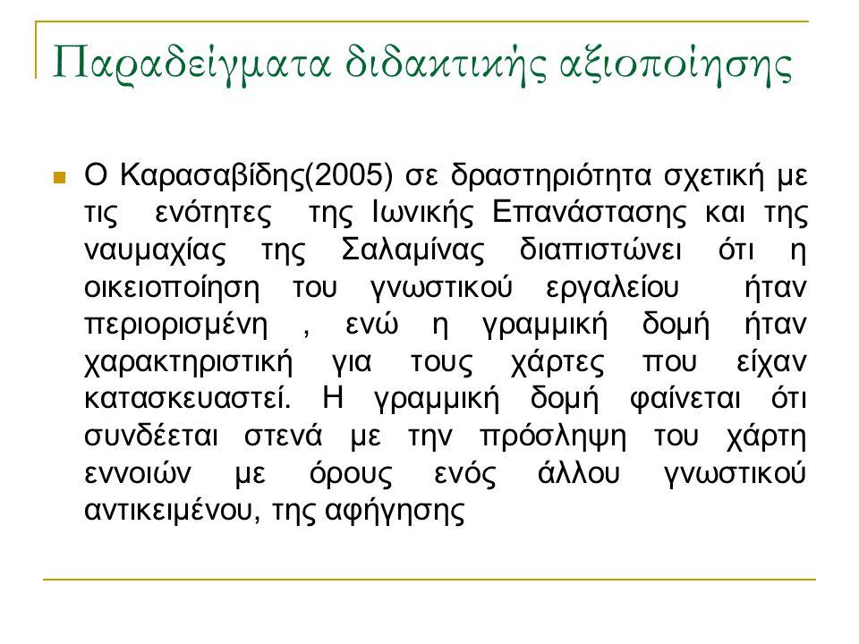 Παραδείγματα διδακτικής αξιοποίησης  Ο Καρασαβίδης(2005) σε δραστηριότητα σχετική με τις ενότητες της Ιωνικής Επανάστασης και της ναυμαχίας της Σαλαμ