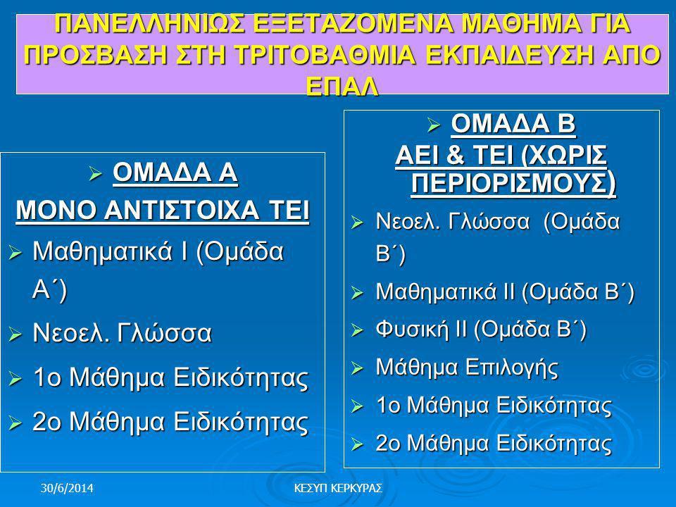 30/6/2014ΚΕΣΥΠ ΚΕΡΚΥΡΑΣ ΤΡΟΠΟΣ ΕΙΣΑΓΩΓΗ ΣΤΑ ΑΕΙ-ΤΕΙ  ΕΠΑ.Λ.  Ενδοσχολικές εξετάσεις για απόκτηση Απολυτηρίου.  Πανελλήνιες εξετάσεις: • Σε 4 μαθήμα