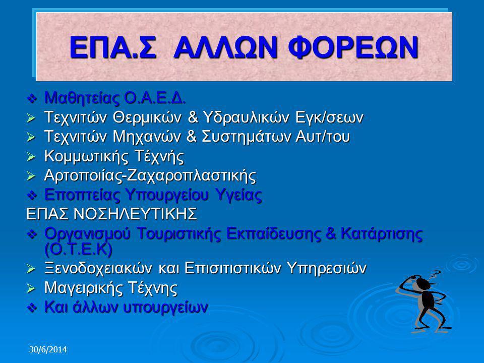 30/6/2014 1.Τεχνιτών Αερίων Καυσίμων (Φυσικού Αερίου) 2.