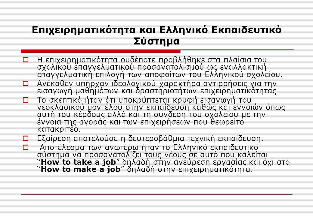 Επιχειρηματικότητα και Ελληνικό Εκπαιδευτικό Σύστημα  Η επιχειρηματικότητα ουδέποτε προβλήθηκε στα πλαίσια του σχολικού επαγγελματικού προσανατολισμο