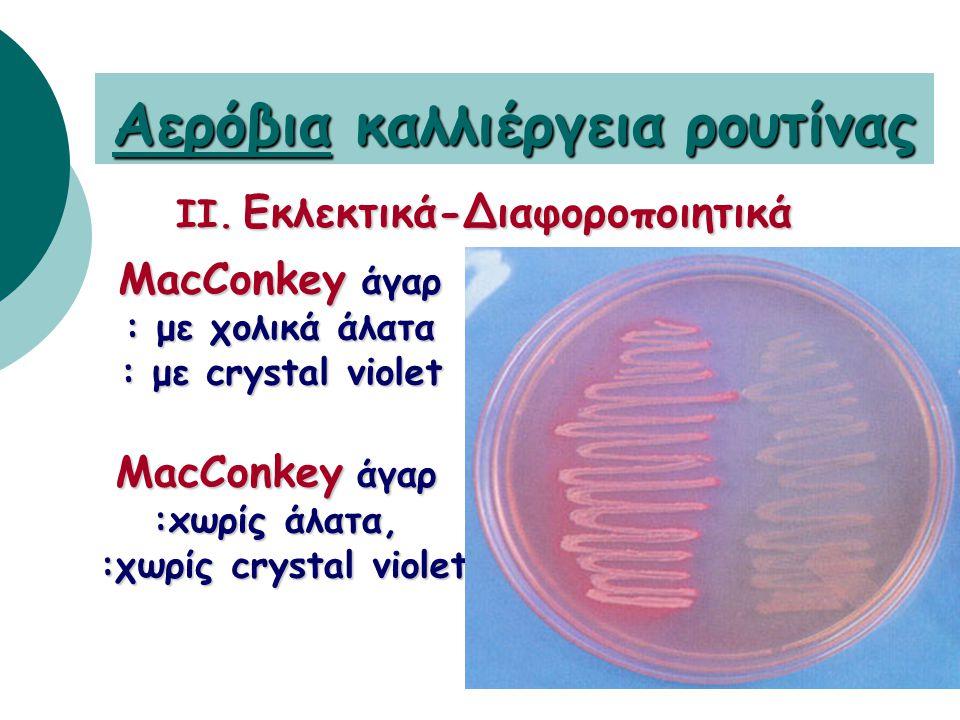 Θρεπτικά υλικά για Αερόβια Καλλιέργεια ρουτίνας I. Μη εκλεκτικά θρεπτικά υλικά αιματούχο (σε όλα τα δείγματα) αιματούχο (σε όλα τα δείγματα) (αίμα προ
