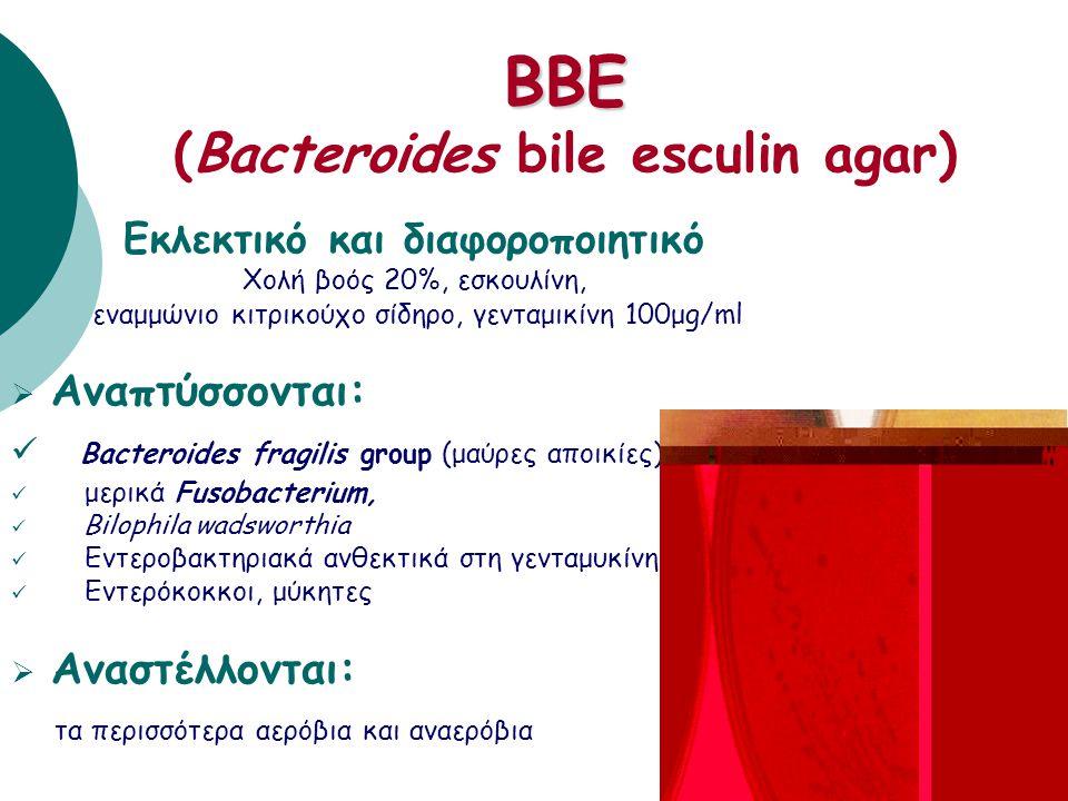 KVLB ή LKV (Kanamycin-Vancomycin-Laked-Blood agar) Εκλεκτικό υλικό καναμυκίνη 75mg, βανκομυκίνη 7,5mg, αιμολυμένο αίμα προβάτου  Αναπτύσσονται: βακτή