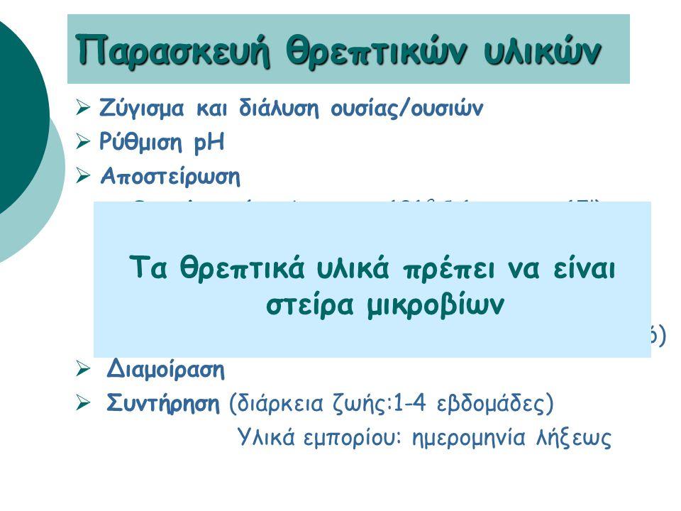 Παρασκευή θρεπτικών υλικών  Ζύγισμα και διάλυση ουσίας/ουσιών  Ρύθμιση pH  Αποστείρωση •Θερμότης (αυτόκαυστο, 121 0 C, 1 atm για 15') αιματούχο: προσθήκη αίματος όταν θ= 50 0 C σοκολατόχρωμο: μετά προσθήκη αίματος, στους 80-100 0 C για 10 min υπό ανακίνηση •Δ ιήθηση (υλικά που δεν αντέχουν στον κλιβανισμό)  Διαμοίραση  Συντήρηση (διάρκεια ζωής:1-4 εβδομάδες) Υλικά εμπορίου: ημερομηνία λήξεως Τα θρεπτικά υλικά πρέπει να είναι στείρα μικροβίων