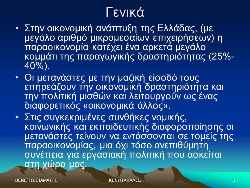 ΒΕΝΕΤΗΣ ΣΤΑΜΑΤΗΣΚΕΣΥΠ ΑΙΓΑΛΕΩ3Γενικά •Στην οικονομική ανάπτυξη της Ελλάδας, (με μεγάλο αριθμό μικρομεσαίων επιχειρήσεων) η παραοικονομία κατέχει ένα α