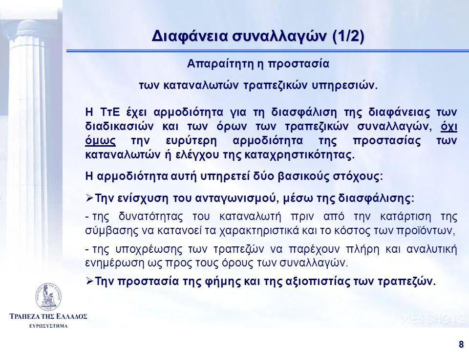 81 Διαφάνεια συναλλαγών (1/2) Απαραίτητη η προστασία των καταναλωτών τραπεζικών υπηρεσιών.