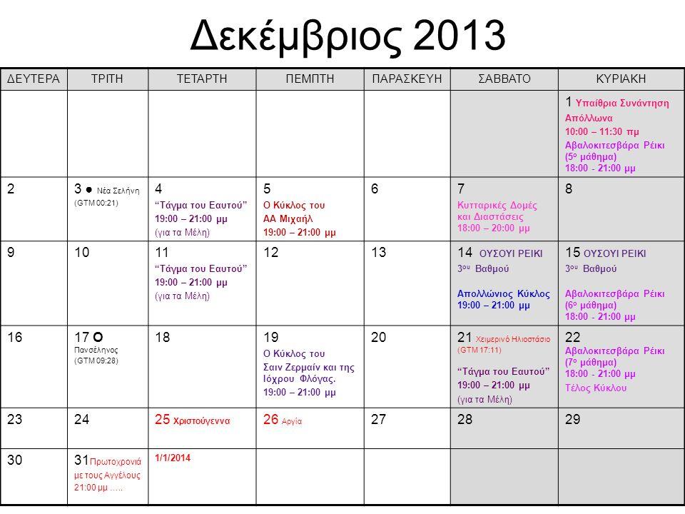 Δεκέμβριος 2013 ΔΕΥΤΕΡΑΤΡΙΤΗΤΕΤΑΡΤΗΠΕΜΠΤΗΠΑΡΑΣΚΕΥΗΣΑΒΒΑΤΟΚΥΡΙΑΚΗ 1 Υπαίθρια Συνάντηση Απόλλωνα 10:00 – 11:30 πμ Αβαλοκιτεσβάρα Ρέικι (5 ο μάθημα) 18:0