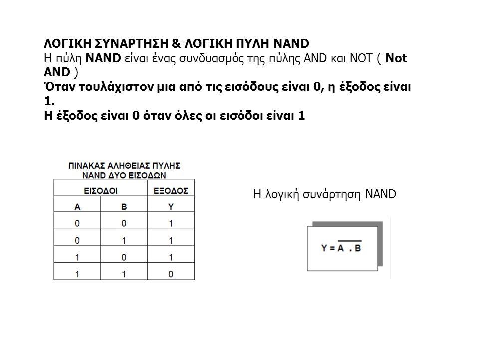ΛΟΓΙΚΗ ΣΥΝΑΡΤΗΣΗ & ΛΟΓΙΚΗ ΠΥΛΗ NAND Η πύλη NAND είναι ένας συνδυασμός της πύλης AND και NOT ( Not AND ) Όταν τουλάχιστον μια από τις εισόδους είναι 0,