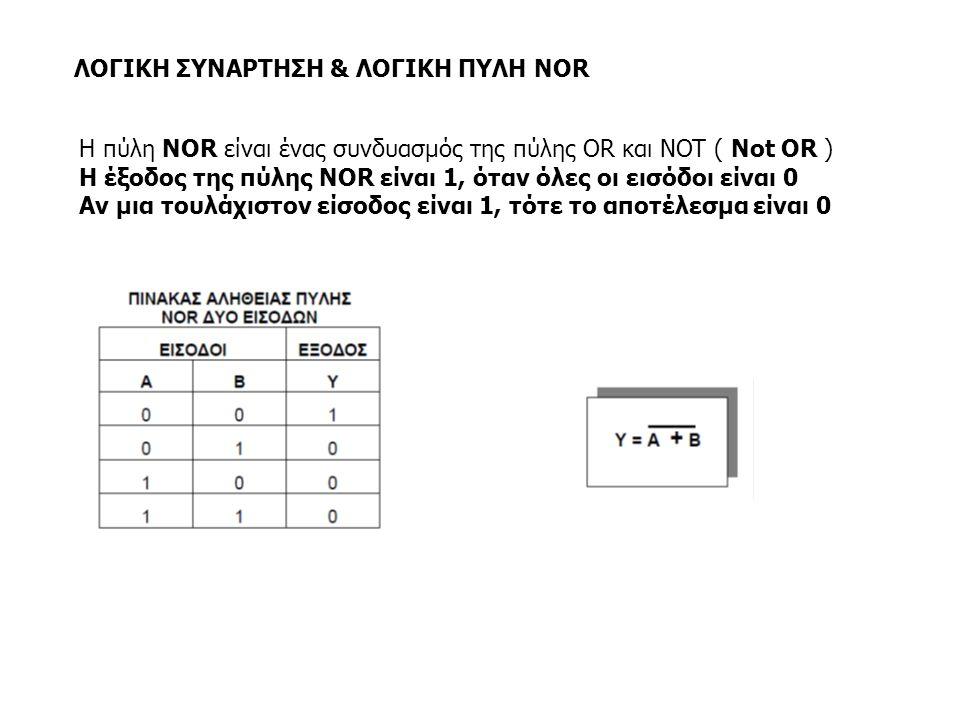 ΛΟΓΙΚΗ ΣΥΝΑΡΤΗΣΗ & ΛΟΓΙΚΗ ΠΥΛΗ NOR Η πύλη NOR είναι ένας συνδυασμός της πύλης OR και NOT ( Not OR ) Η έξοδος της πύλης NOR είναι 1, όταν όλες οι εισόδ