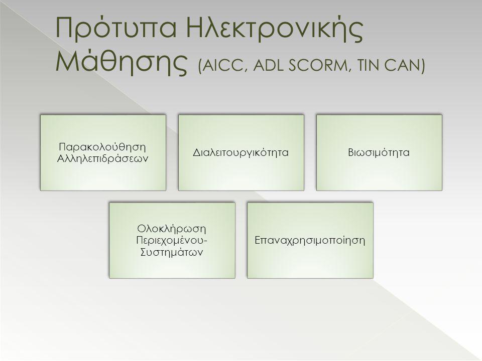 Παρακολούθηση Αλληλεπιδράσεων ΔιαλειτουργικότηταΒιωσιμότητα Ολοκλήρωση Περιεχομένου- Συστημάτων Επαναχρησιμοποίηση Πρότυπα Ηλεκτρονικής Μάθησης (AICC, ADL SCORM, TIN CAN)