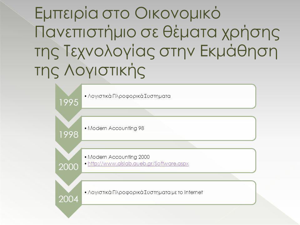 Εμπειρία στο Οικονομικό Πανεπιστήμιο σε θέματα χρήσης της Τεχνολογίας στην Εκμάθηση της Λογιστικής 1995 •Λογιστικά Πλροφορικά Συστηματα 1998 •Modern Accounting 98 2000 •Modern Accounting 2000 •http://www.aislab.aueb.gr/Software.aspxhttp://www.aislab.aueb.gr/Software.aspx 2004 •Λογιστικά Πλροφορικά Συστηματα με το Internet