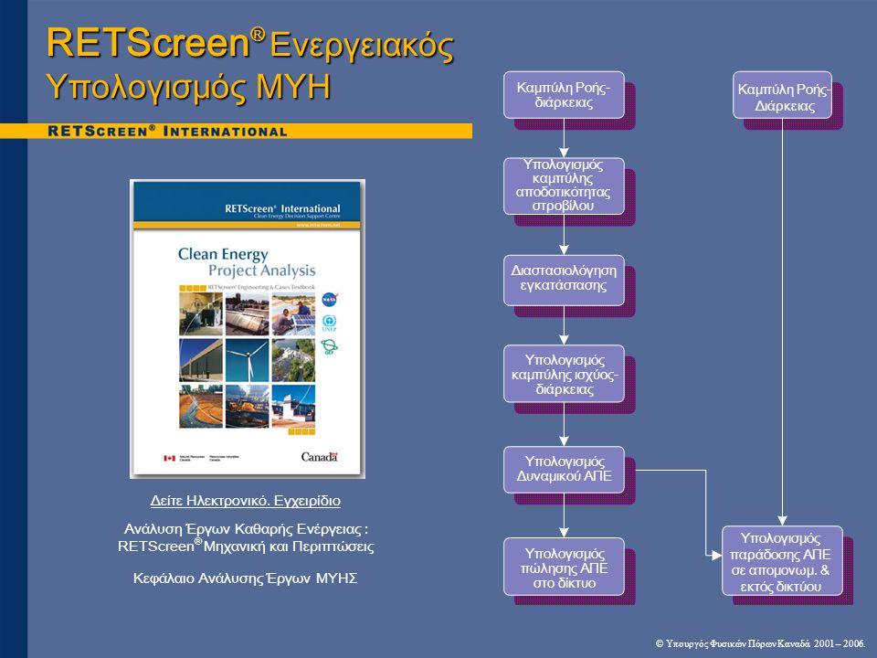 RETScreen ® Ενεργειακός Υπολογισμός ΜΥΗ Δείτε Ηλεκτρονικό.
