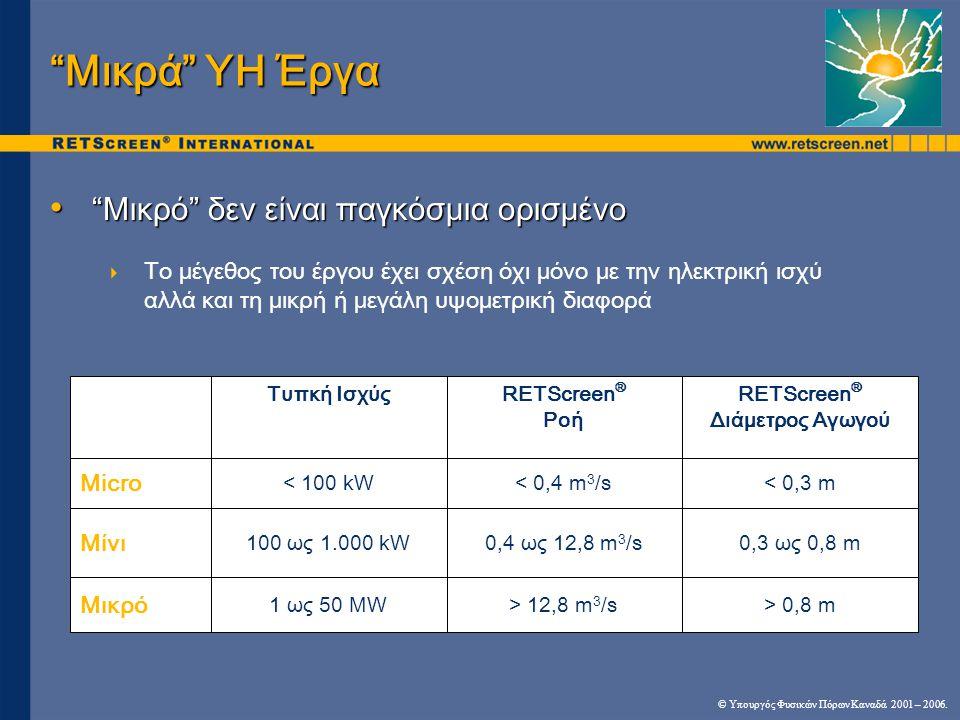 • Μικρό δεν είναι παγκόσμια ορισμένο  Το μέγεθος του έργου έχει σχέση όχι μόνο με την ηλεκτρική ισχύ αλλά και τη μικρή ή μεγάλη υψομετρική διαφορά Μικρά ΥΗ Έργα > 0,8 m> 12,8 m 3 /s1 ως 50 MW Μικρό 0,3 ως 0,8 m0,4 ως 12,8 m 3 /s 100 ως 1.000 kW Μίνι < 0,3 m< 0,4 m 3 /s< 100 kW Micro RETScreen ® Διάμετρος Αγωγού RETScreen ® Ροή Τυπκή Ισχύς © Υπουργός Φυσικών Πόρων Καναδά 2001 – 2006.