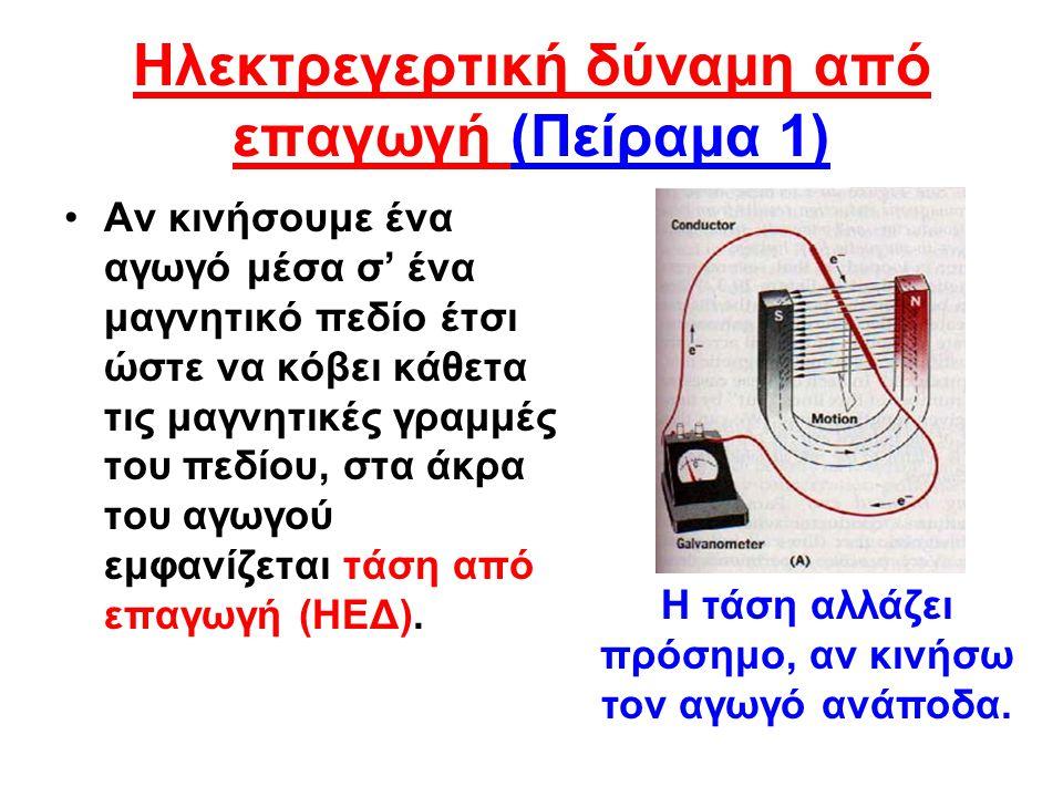 Ηλεκτρεγερτική δύναμη από επαγωγή (Πείραμα 1) •Αν κινήσουμε ένα αγωγό μέσα σ' ένα μαγνητικό πεδίο έτσι ώστε να κόβει κάθετα τις μαγνητικές γραμμές του