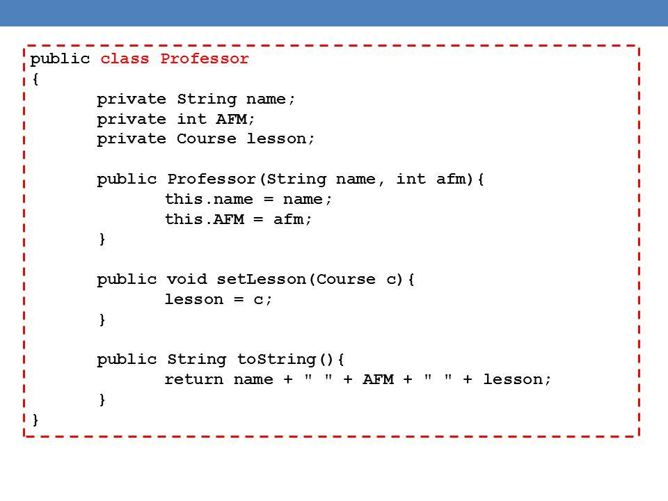 public class Professor { private String name; private int AFM; private Course lesson; public Professor(String name, int afm){ this.name = name; this.AFM = afm; } public void setLesson(Course c){ lesson = c; } public String toString(){ return name + + AFM + + lesson; }