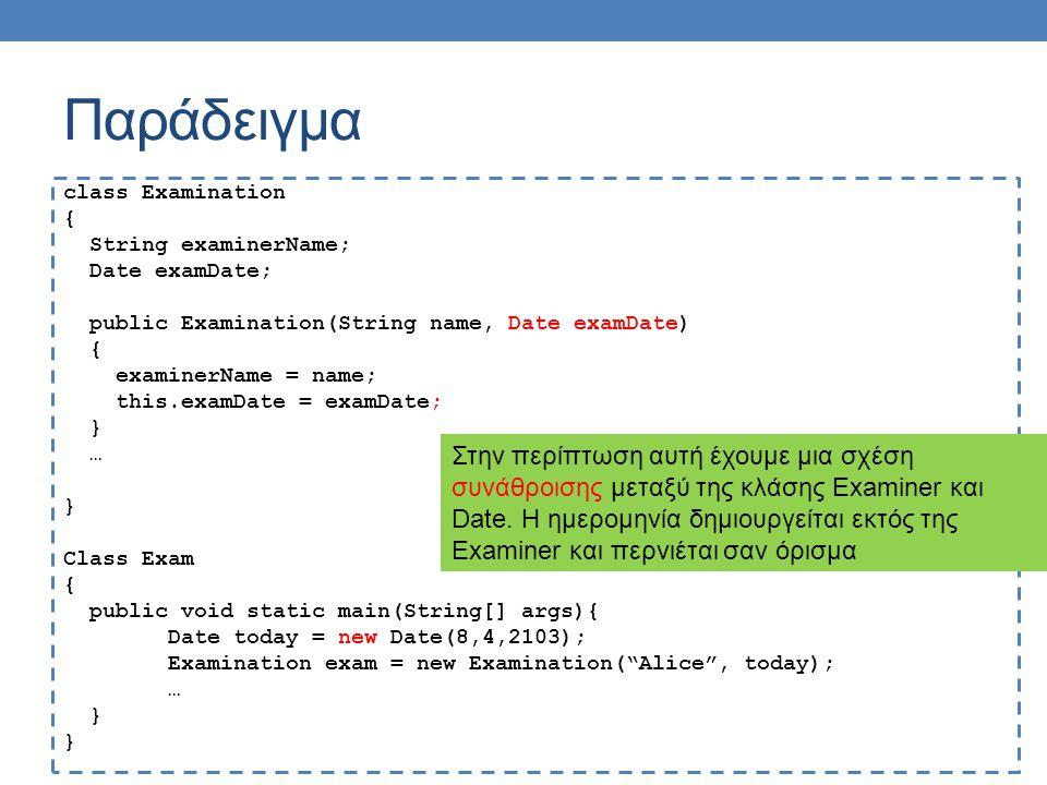 Παράδειγμα class Examination { String examinerName; Date examDate; public Examination(String name, Date examDate) { examinerName = name; this.examDate