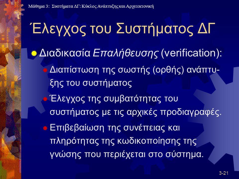 Μάθημα 3: Συστήματα ΔΓ: Κύκλος Ανάπτυξης και Αρχιτεκτονική 3-21 Έλεγχος του Συστήματος ΔΓ  Διαδικασία Επαλήθευσης (verification):  Διαπίστωση της σωστής (ορθής) ανάπτυ- ξης του συστήματος  Έλεγχος της συμβατότητας του συστήματος με τις αρχικές προδιαγραφές.