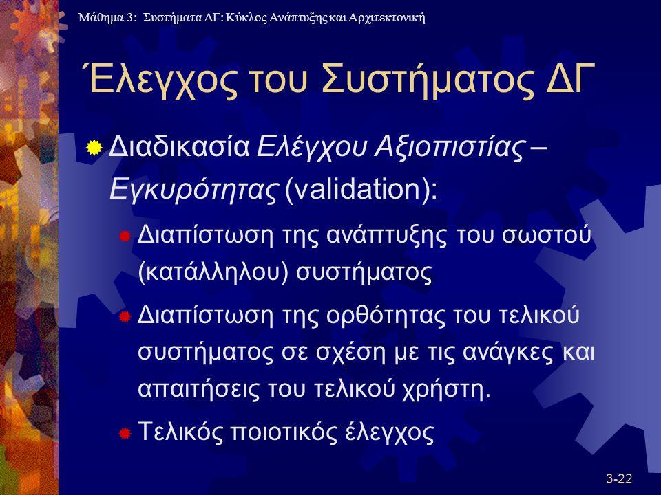 Μάθημα 3: Συστήματα ΔΓ: Κύκλος Ανάπτυξης και Αρχιτεκτονική 3-22 Έλεγχος του Συστήματος ΔΓ  Διαδικασία Ελέγχου Αξιοπιστίας – Εγκυρότητας (validation):  Διαπίστωση της ανάπτυξης του σωστού (κατάλληλου) συστήματος  Διαπίστωση της ορθότητας του τελικού συστήματος σε σχέση με τις ανάγκες και απαιτήσεις του τελικού χρήστη.