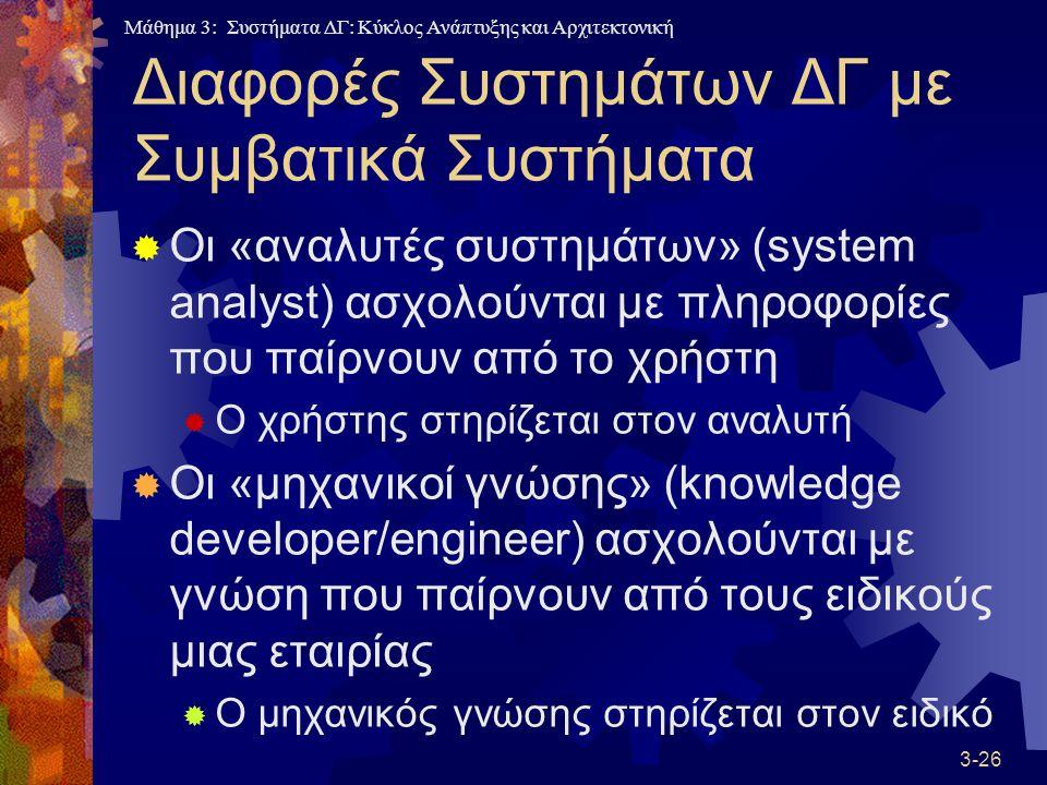 Μάθημα 3: Συστήματα ΔΓ: Κύκλος Ανάπτυξης και Αρχιτεκτονική 3-26 Διαφορές Συστημάτων ΔΓ με Συμβατικά Συστήματα  Οι «αναλυτές συστημάτων» (system analyst) ασχολούνται με πληροφορίες που παίρνουν από το χρήστη  Ο χρήστης στηρίζεται στον αναλυτή  Οι «μηχανικοί γνώσης» (knowledge developer/engineer) ασχολούνται με γνώση που παίρνουν από τους ειδικούς μιας εταιρίας  Ο μηχανικός γνώσης στηρίζεται στον ειδικό