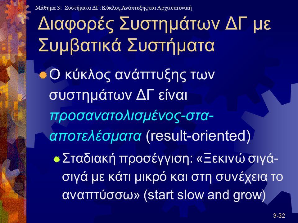 Μάθημα 3: Συστήματα ΔΓ: Κύκλος Ανάπτυξης και Αρχιτεκτονική 3-32 Διαφορές Συστημάτων ΔΓ με Συμβατικά Συστήματα  Ο κύκλος ανάπτυξης των συστημάτων ΔΓ είναι προσανατολισμένος-στα- αποτελέσματα (result-oriented)  Σταδιακή προσέγγιση: «Ξεκινώ σιγά- σιγά με κάτι μικρό και στη συνέχεια το αναπτύσσω» (start slow and grow)